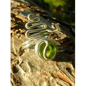 """Snake"" ring with colored glass"