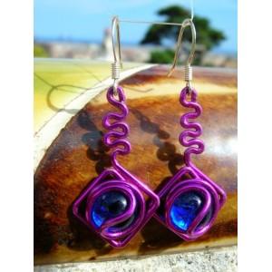 """Boucles d'oreilles """"cometa"""" en métal+verre colorés"""