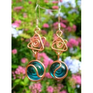 """Estrella brasileña"" copper earrings with glass cabochons"