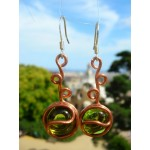 """Lière"" copper earrings with glass beads"