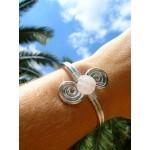 """Bracelet """"double-spirales"""" avec quartz rose"""