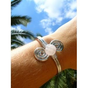 """Bracelet """"double-spirales"""" avec pierres naturelles"""