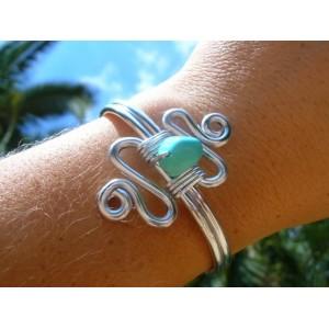 """Bracelet """"double-zig-zag"""" avec pépites de pierres naturelles"""