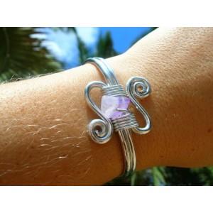 """Bracelet """"double-courbes""""avec pépites de pierres naturelles"""