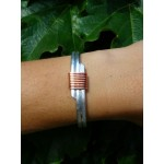"""Bracelet martelé """"mixte"""" motif cuivré"""