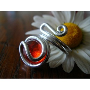 """""""Zig"""" ring with colored glass"""