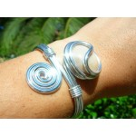 """Bracelet """"spirale"""" avec verre coloré"""