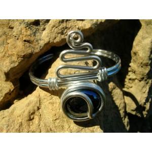 """Bracelet """"serpentin"""" avec verre coloré"""