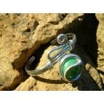 """Bracelet """"zig"""" vert nacré"""