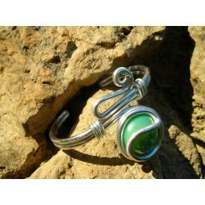 """Bracelet """"zig"""" avec verre coloré"""