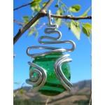 "Grand pendentif ""zig-zag + arabesque"" vert"
