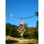 """Doble zig-zag"" pendant with colored glass"