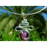 """Zig-zag"" small pendant with colored glass"