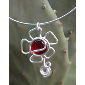 """Flor"" pendant with colored glass"