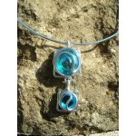 """""""Doble square"""" pendant with colored glass"""