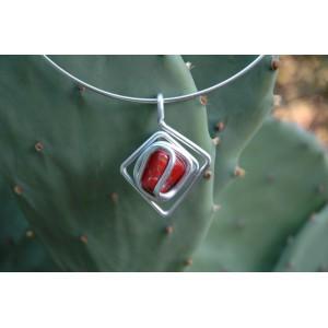 """""""Asymmetric diamond"""" pendant with natural stone"""