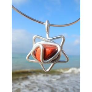 """Pendentif """"étoile"""" avec pierres naturelles"""