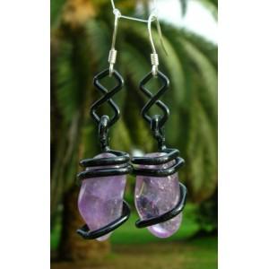 """Boucles d'oreilles """"infinito"""" avec métal coloré + pierre naturelle"""