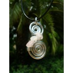 """""""Double spirales"""" pendant with small natural stones"""