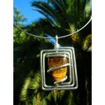 """Square"" pendant with big natural stone"