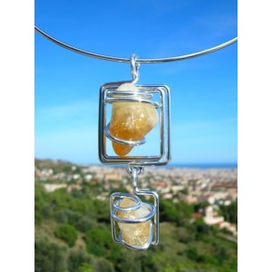 """Double carrés"" pendant with 2 natural stones"