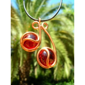 """""""Griottes"""" copper pendant with colored glass"""