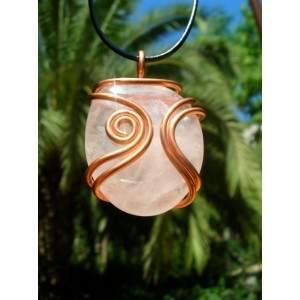 """Arabesque"" copper pendant with big natural stone"