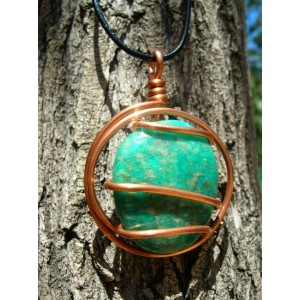 """Grand pendentif """"tourbillon"""" cuivre + galet de pierre naturelle"""