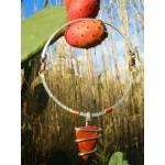Pendentif martelé avec galet de jaspe rouge