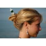 """Pic à cheveux """"zig-zag"""" avec perle de verre verte"""