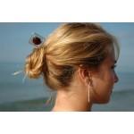 """Pic à cheveux """"spirale-carrée"""" avec perle rouge"""