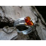 Triple ring with natural stone bead