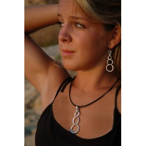 """""""DNA"""" pound earrings and necklace set"""