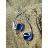 """Boucles d'oreilles """"tiges"""" bleu foncé"""