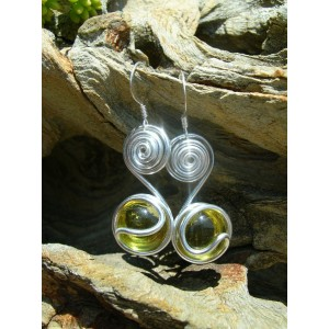 """Spirales"" earrings with coloured glass beads"