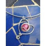 """Petit pendentif """"corazon"""" avec verre coloré"""