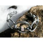 Bracelet ADN avec duo de pépites de pierres naturelles