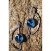 """Boucles d'oreilles """"Media Luna"""" avec cabochons bleus clairs"""