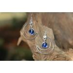 """Boucles d'oreilles """"Lune Celeste"""" avec cabochons bleus foncés"""