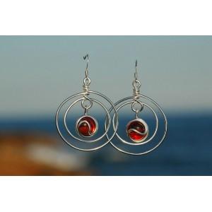 """Boucles d'oreilles """"Planeta"""" avec verre coloré"""