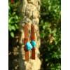Boucles d'oreille martelées avec pépites de pierres naturelles