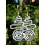 """Boucles d'oreilles martelées """"spirale+courbe"""""""