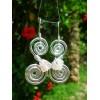 """Boucles d'oreille """"double-spirales"""" avec pépites"""