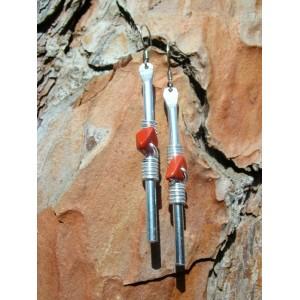 """Boucles d'oreilles """"baguettes"""" avec pépites de pierres naturelles"""