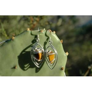 """Boucles d'oreilles """"Foeil"""" avec petites pierres naturelles"""