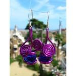 """Boucles d'oreille """"cerises"""" avec fil+verre colorés"""