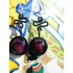 """Boucles d'oreille """"ola"""" avec fil+verre colorés"""