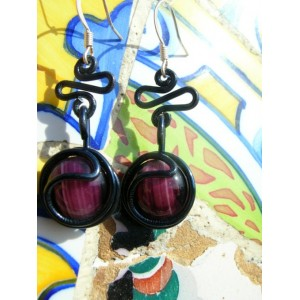 """""""Ola"""" earrings with colored wire and glass"""