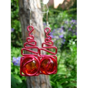 """""""Echelle"""" earrings with color wire and glass"""