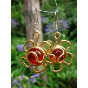 """""""Flor"""" earrings with colored wire and glass"""